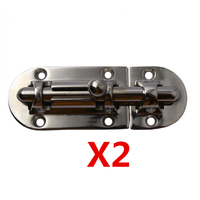 2 Pieces Marine Boat Yacht Camper RV Heavy Duty Straight Barrel Bolts Window Thumb Lock Cabinet Slide Latches 3