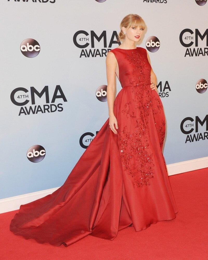 Ausdrucksvoll Neue Mode A-linie Red Celebrity Dress 2017 Nach Maß Vestido De Festa Spitze Perlen Taft Lange Abendkleider Qualität Gut FüR Antipyretika Und Hals-Schnuller