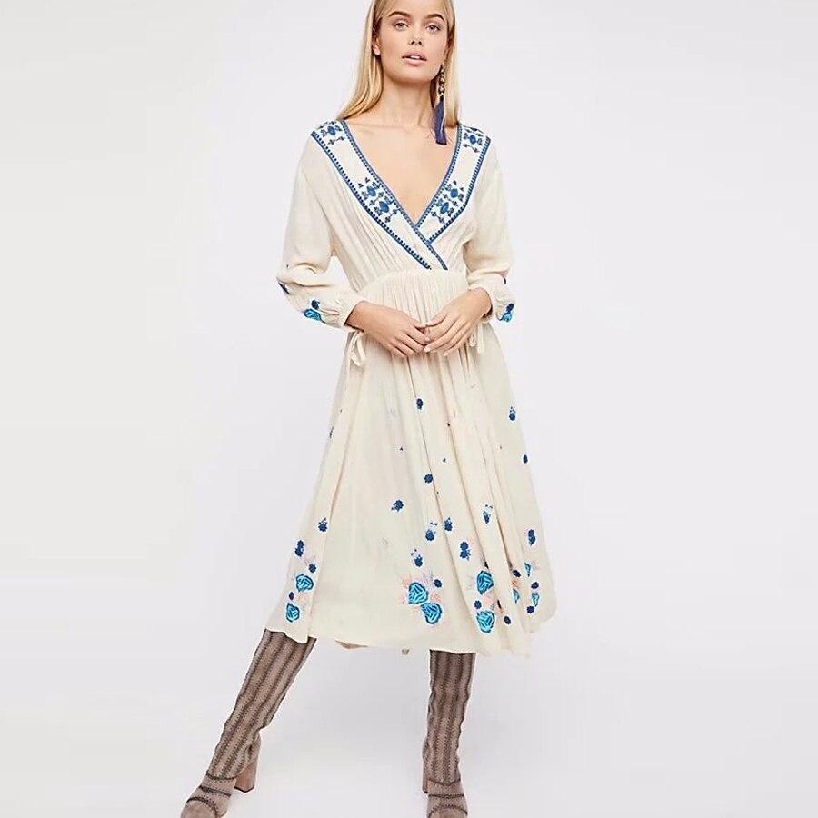 TEELYNN coton floral broderie longue robe sexy col en v cordon manches Vintage boho robes blanc femmes robe marque vestido