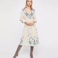 TEELYNN cotton floral Embroidery long dress sexy v neck drawstring Sleeve Vintage boho dresses white women dress brand vestido