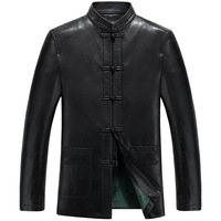 Vintage Sheepskin Genuine Leather Men Jacket 2017 Casual Male Coat China Tang Dynasty Clothes Suit Costume