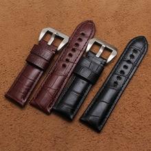Promoção hot new pulseira Black Brown Crocodile grain Couro Gennine Assista straps 22mm 24mm 26mm em aço inoxidável pin fivela