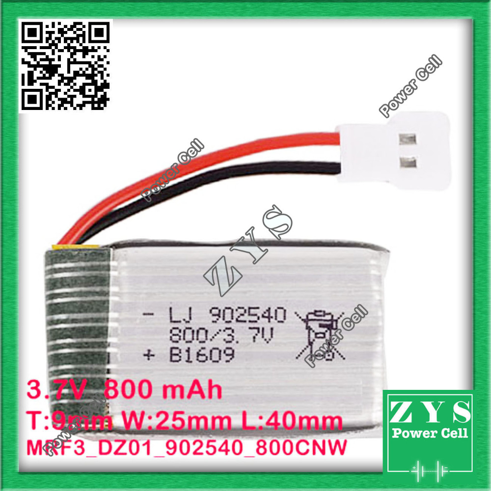 Safety Packing 2 pin Connector 3.7V lithium Polymer battery 902540 800mah for UAV UAS Drone Zone mini drone fpv Size 90x25x40mm