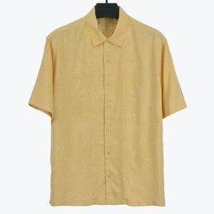 """Image 2 - 8 צבעים 100% משי גבר חולצה ארה""""ב גודל מוצק צבע פרחוני גברים מקרית חולצה מחנה קצר שרוול תורו למטה צווארון בתוספת גדול קיץ"""