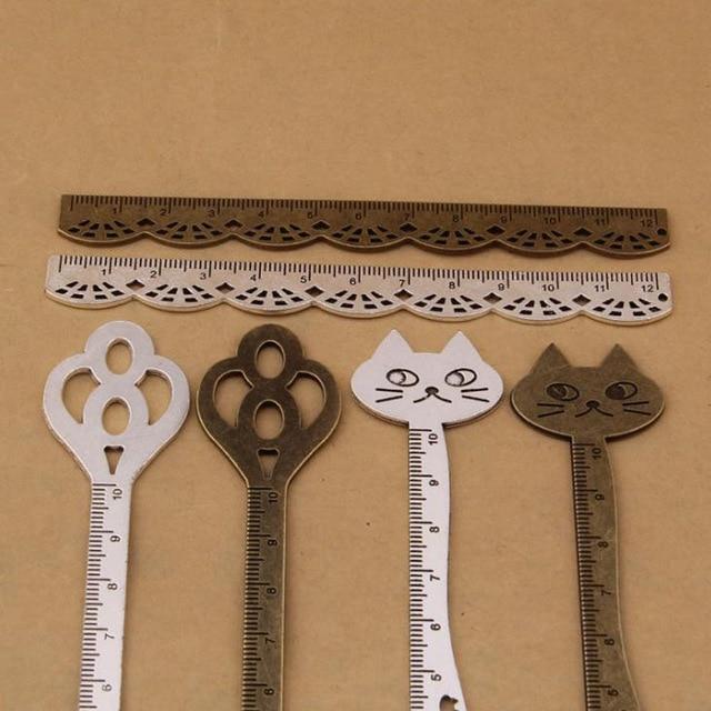 Antique Straight Ruler Cat Key Lace Ruler Novelty Vintage Metal Straight Ruler 2pcs