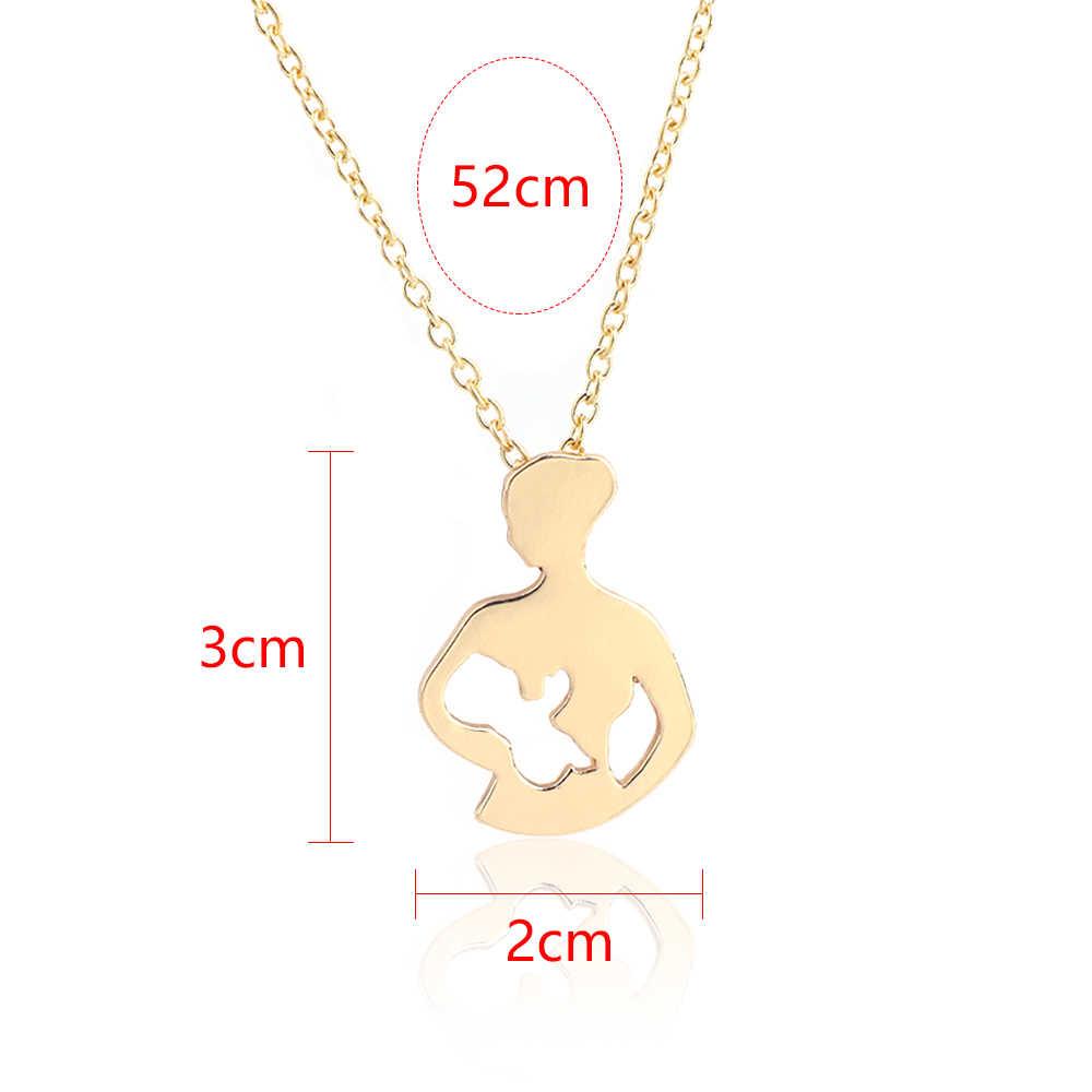 """أمي الطفل سلسلة طويلة قلادة الحلو الأم الرضاعة الطبيعية ابنة ابن الطفل الأسرة قلادة بحلية متدلية بكلمة """"love"""""""