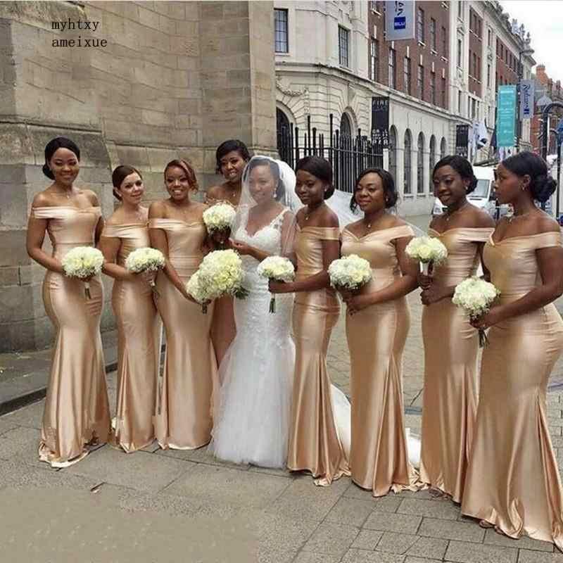 Дешевый Темный Атлас цвета шампана платье подружки невесты в стиле русалки Длинные Сексуальные с открытыми плечами 2019 Африканский Женский корсет обратно Дешевое платье для вечеринки