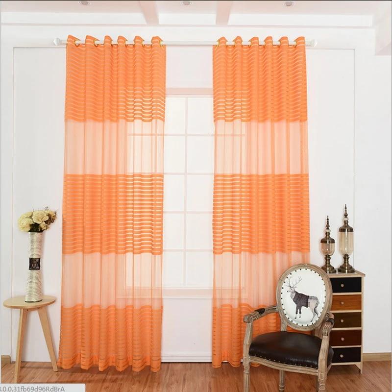 orange cross striped curtain voile living room bedroom sheer curtain panels window treatment drapes home decor cutout curtain