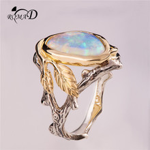 Romad Elegant Branch Leaves Artificial Opal Rings for Women high quality Engagement Ring  Luxurious brand jewelry best gifts