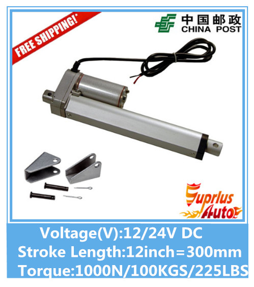 Free Shipping 12V,300mm/ 12 inch stroke, 1000N/100KGS/225LBS load linear actuator send by China Post china post air mail free shipping 12v 325mm 13 inch stroke 1000n 100kg 225lbs load linear actuator