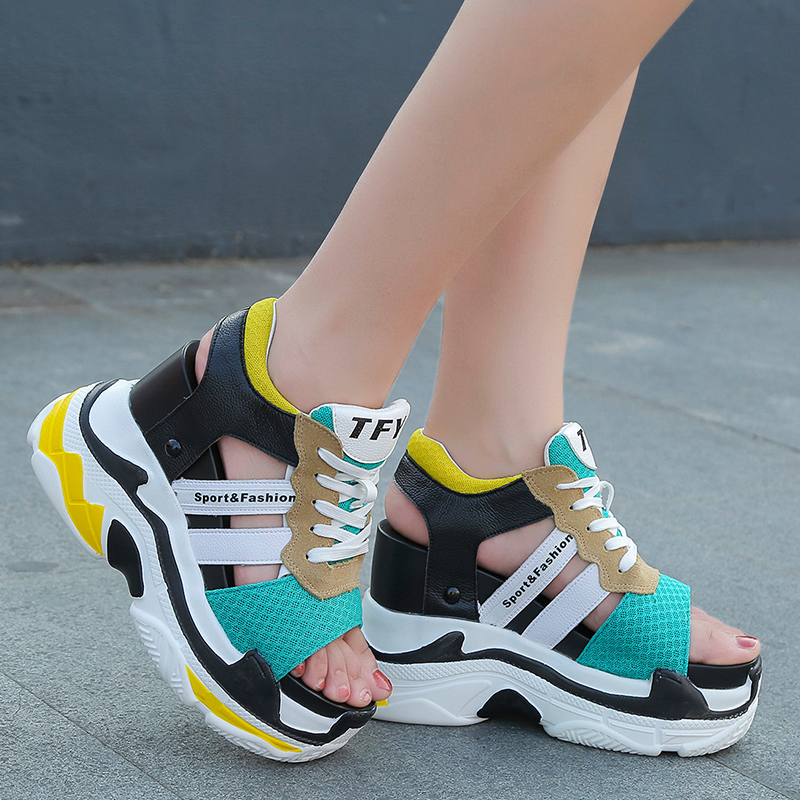 Sneaker Sandals Platform-Shoes Wedges Peep-Toe Lace-Up Summer Women Casual XYZ055