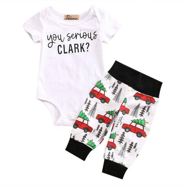 7c94e2357132 Cute Newborn Infant Baby Boy Girl Clothes Set Short Sleeve You Serious  Clark Letters Rompers Car Print Pants 2PCS Outfits Set