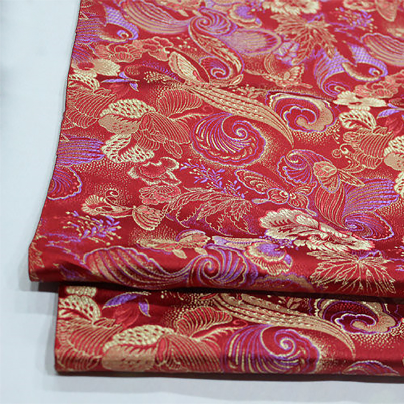 HLQON 75cm width brocade yarn dyed red fabric for patchwork felt tissue telas bed sheet children cloth coat cheongsam dress