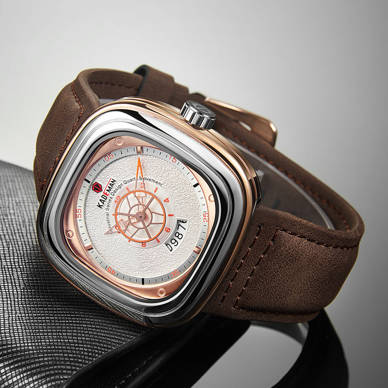 2019 hommes de luxe montres nouvelle mode carré Quartz montre haut marque KADEMAN décontracté en cuir montres affaires Relogio Masculino 1