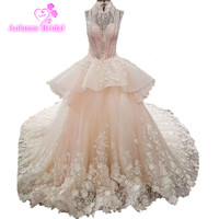Vintage Lace Ball Gowns Wedding Dress 2018 Vestido De Noiva Crystals Transport Lace up High Neck Elegant Catgedral Bridal Gowns