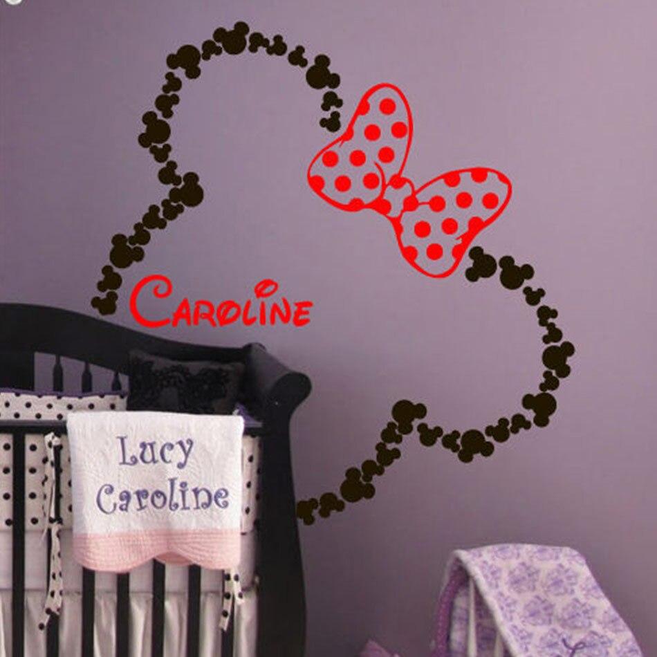 US $19.99  Mickey Maus Ohren Minnie mit Bogen Baby Name Wandtattoo  Benutzerdefinierte Schlafzimmer Wohnkultur Wandaufkleber für Kind raum  wand-in ...