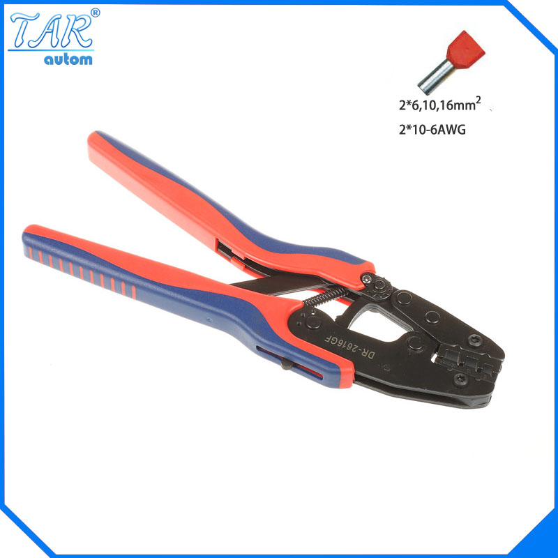 2*6,10,16mm Super Strength-Saving Crimping Pliers Ratchet Crimping Tool Insulated and Non-insulated cable end-sleeves DR2616GF mini small ferrules tool crimper plier for crimping cable end sleeves from 0 25 2 5mm2