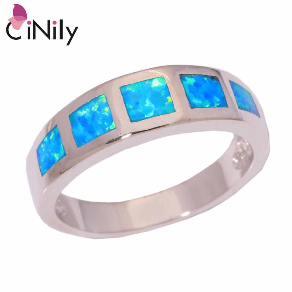 Cinily Fashion Jewelry Ring-Size Fire-Opal Silver-Plated Blue Women for Gift 6/7/8/..