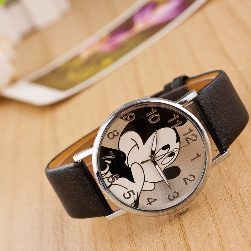 Relogios Cute cartoon Mickey Mouse Womens Watch leather Bear quartz wristwatch women Gift Zegarki Damskie C