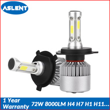 Aslent 2X S2 H4 LED H7 H11 H8  H9 9006 HB4 H1 H3 HB3 9005 Car Headlight Bulbs Lamp Auto Fog Lights 72W 8000lm 6500K 12V 24V