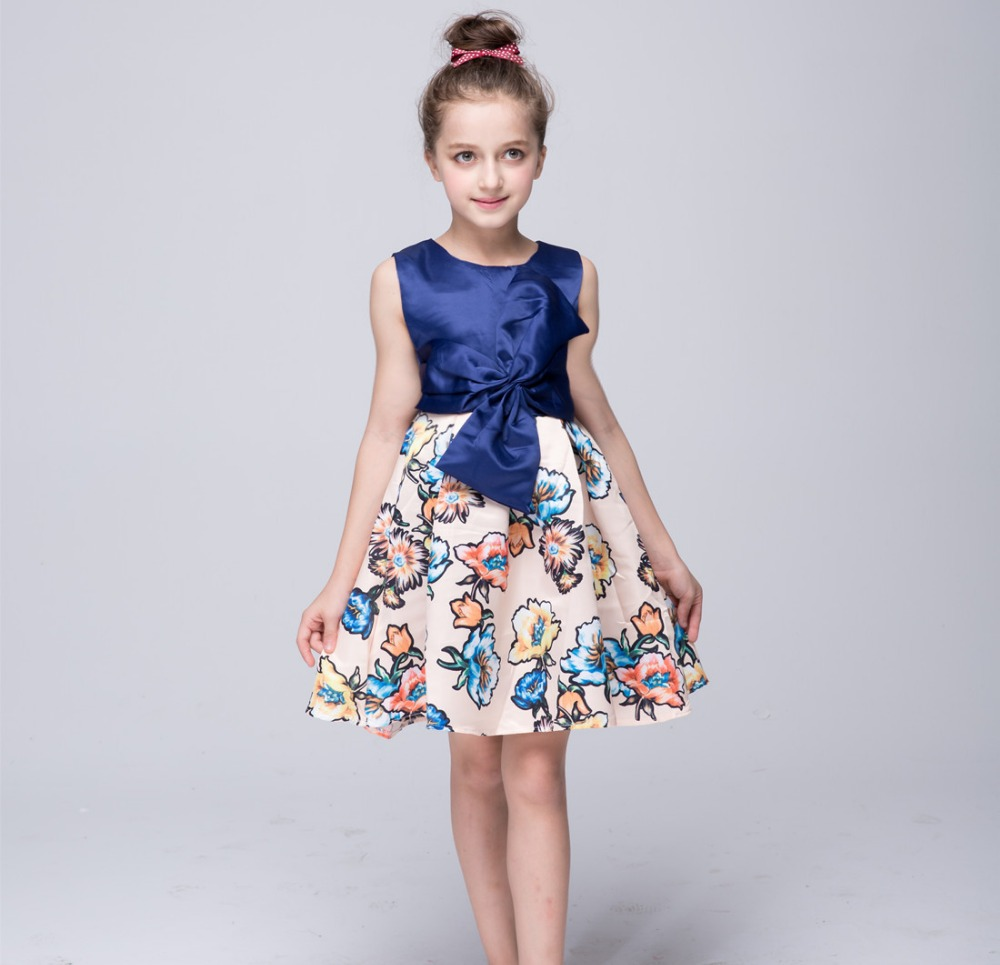 New brand princess pettiskirt girl dress Europe stitching style dresses for girls clothes with big bow floral kids clothes BH913 metting joura bohemian cream lace flower pearl crystal rhinestone headband hairdband hair accessories