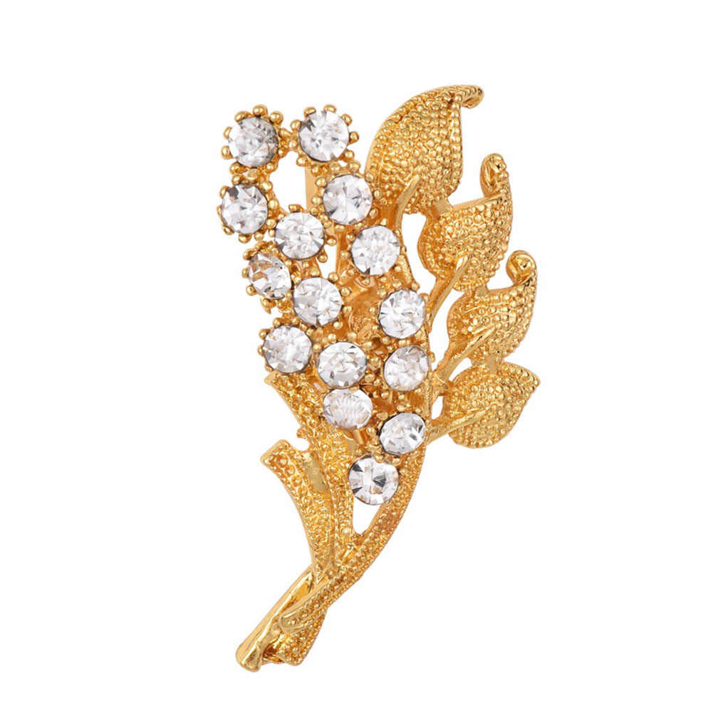 Flowers Leaves Rhinestone Brooches Bouquet Crystal For Wedding Jewelry Scarf  Clips Leaf Pins For Woman 5cb63ac90aba