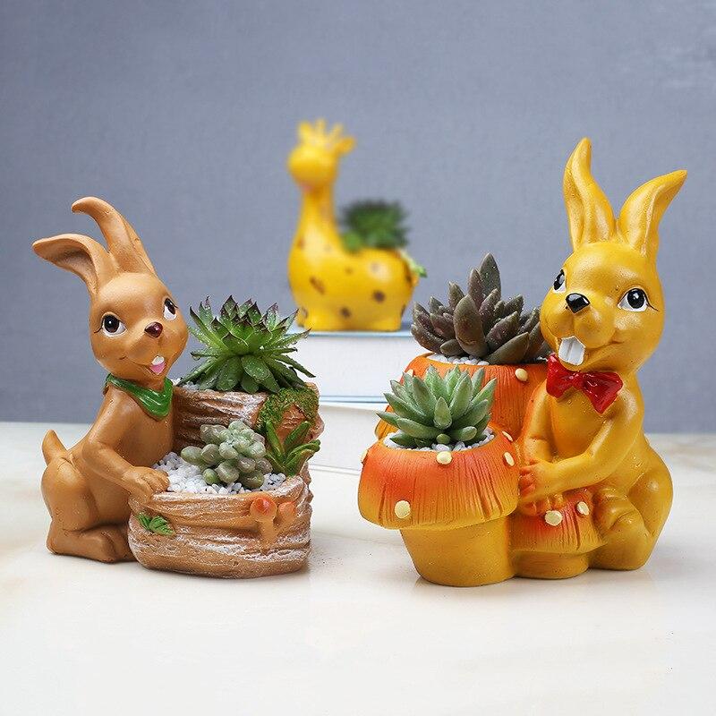 Pot de fleur en résine de dessin animé créatif de 2 pièces/ensemble pour plante succulente maison jardin bureau petit Pot décoration lapins Pot en résine