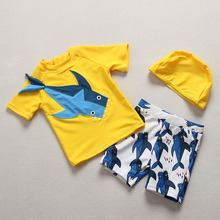 Boys Swimsuit 2018 New 3D Shark Print Yellow Swimwear Kids Boy 2piece Baby Rash Guard Swimsuits for Children Bathing Suit