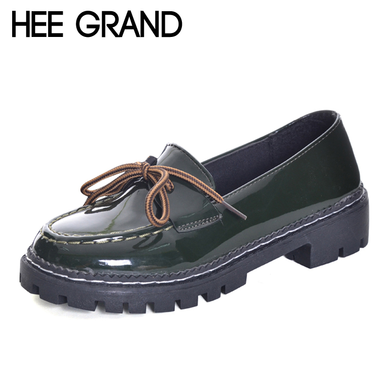 HEE GRAND 2017 Patent Leather Women Oxfords British New Spring Platform Flats Casual Lace-Up Ladies Brogue Shoes Woman XWD6041 n11 brand 2017 spring women platform shoes woman brogue patent leather flats lace up footwear female flat oxford shoes for women