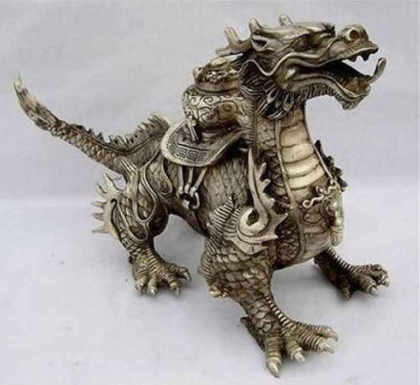 Huge Tibetan Silver luck Dragon Statue