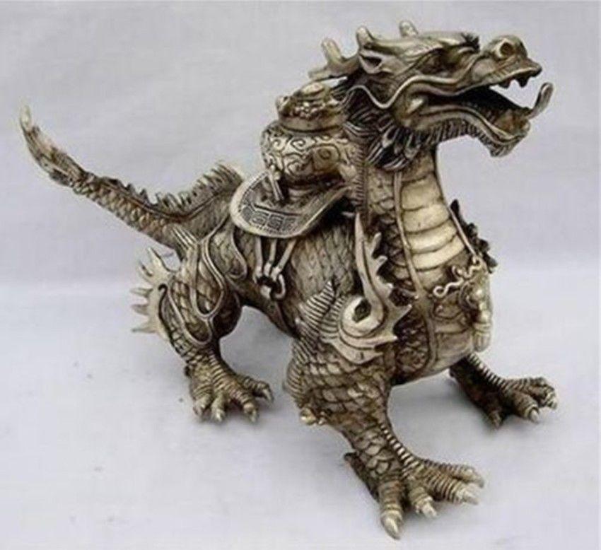 Enorme Argento Tibetano fortuna Drago StatuaEnorme Argento Tibetano fortuna Drago Statua