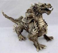 Huge Tibetan Silver luck Dragon Statue