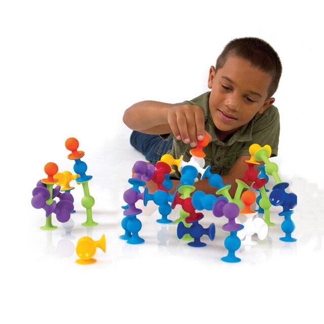 New Softบล็อกอาคารเด็กDIY Pop Squigz Suckerซิลิโคนบล็อกชุดก่อสร้างของเล่นของขวัญสร้างสรรค์สำหรับเด็ก