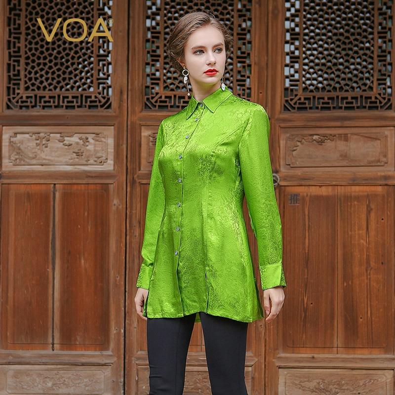 VOA Silk Jacquard Lapel Blouse Women Grass Green Color