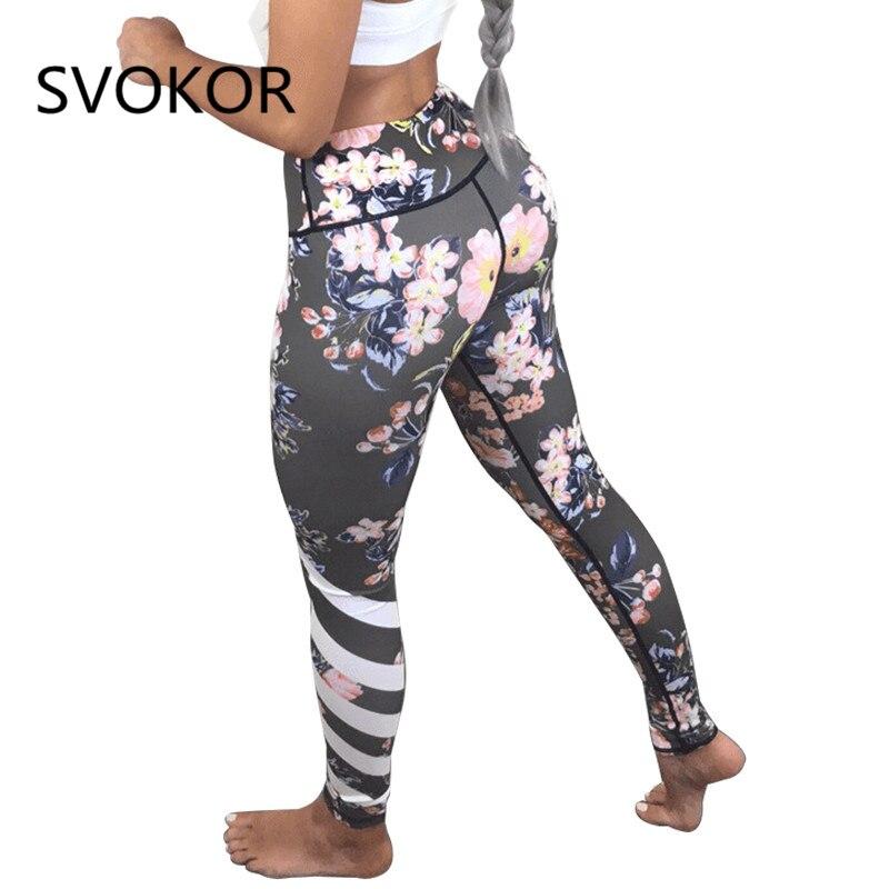 SVOKOR Flower Printed Leggings Women 2018 Polyester Ankle-Length Pants Standard Push Up Female Legging For Fitness