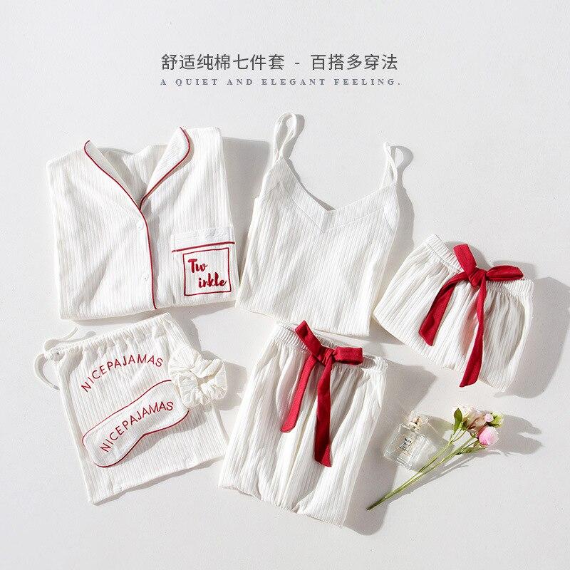 QWEEK 100% Cotton Women   Pajamas     Sets   Spring White Pijamas Long Sleeve Soft Women Sleepwear 7 Pieces   Set   Lastic Waist Pants