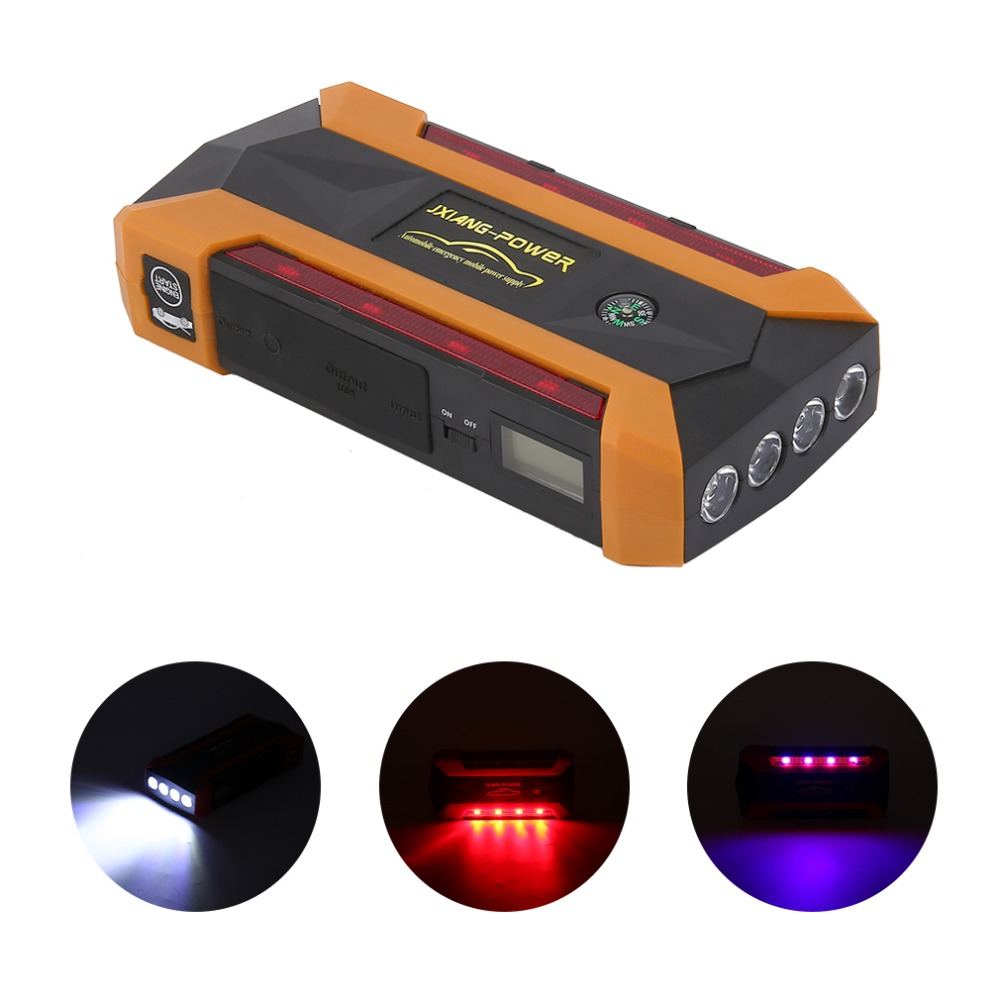 General 12V 89800mah Portable 4USB Car Jump Starter Power Bank Tool Kit Booster Charger Battery Automobile Emergency LED Light practical 89800mah 12v 4usb car battery charger starting car jump starter booster power bank tool kit for auto starting device