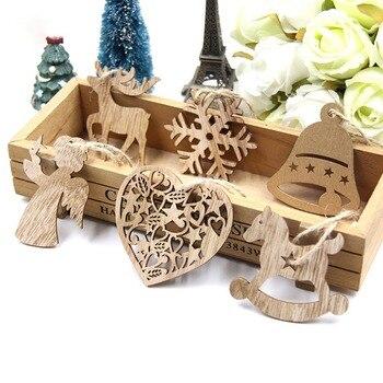 10PCS DIY Christmas Snowflakes&Deer&Tree Wooden Pendants Ornaments  Christmas Party Decorations Xmas Tree Ornaments Kids Gifts