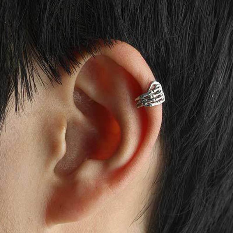 NEW UNISEX SILVER-TONE FASHION GOTH//PUNK SKULL HELIX//EAR CUFF NO PIERCE EARRING