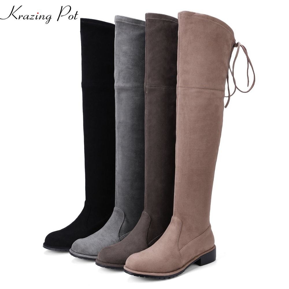 Krazing Pot Superstar sheep suede stretch boots runway fashion winter shoe med heel lace up bowtie women over-the-knee boots L15