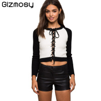 Gizmosy Women Lace Up Pullover Solid Slim Long Sleeve O Neck Hollow Out Tops Ladies Casual