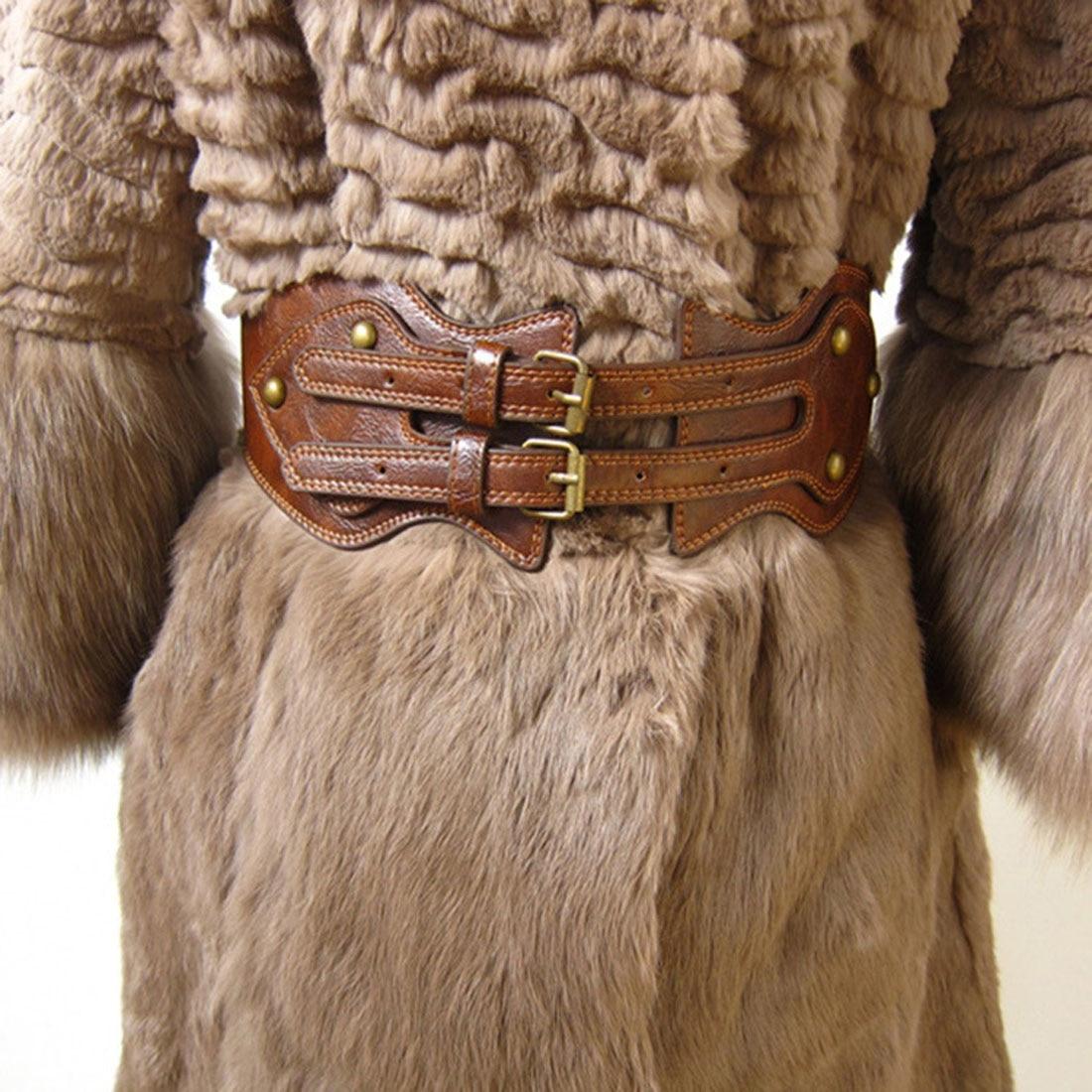 Vintage Dual Metal Needle Buckle Stylish Women Elastic Wide Belt Genuine Leather Waistband Cummerbund For Apparel Accessories