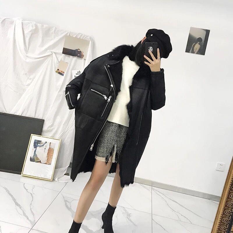 Épais Fourrure Long En Laine 2018 Mérinos Moutons Hiver Chaud Peau Outwear Et Mouton Manteau De Mode Femmes qcLRj4S35A