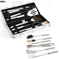 6pcs Stainless Steel BBQ Tool Set BBQ Grill Tongs Cleaning brush Shovel Fork Oil brush and BBQ knife With Aluminum Storage Case