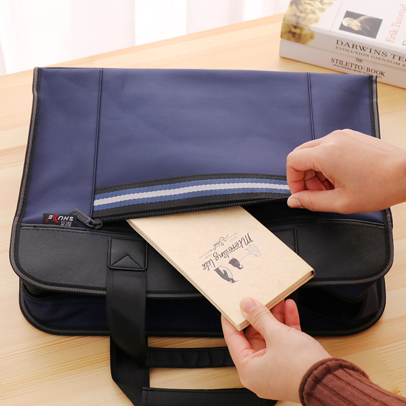 High Capacity Briefcase Document Bag Qulity Durable Portable Laptop Bag Double Layer Business Files Folder Thick Waterproof