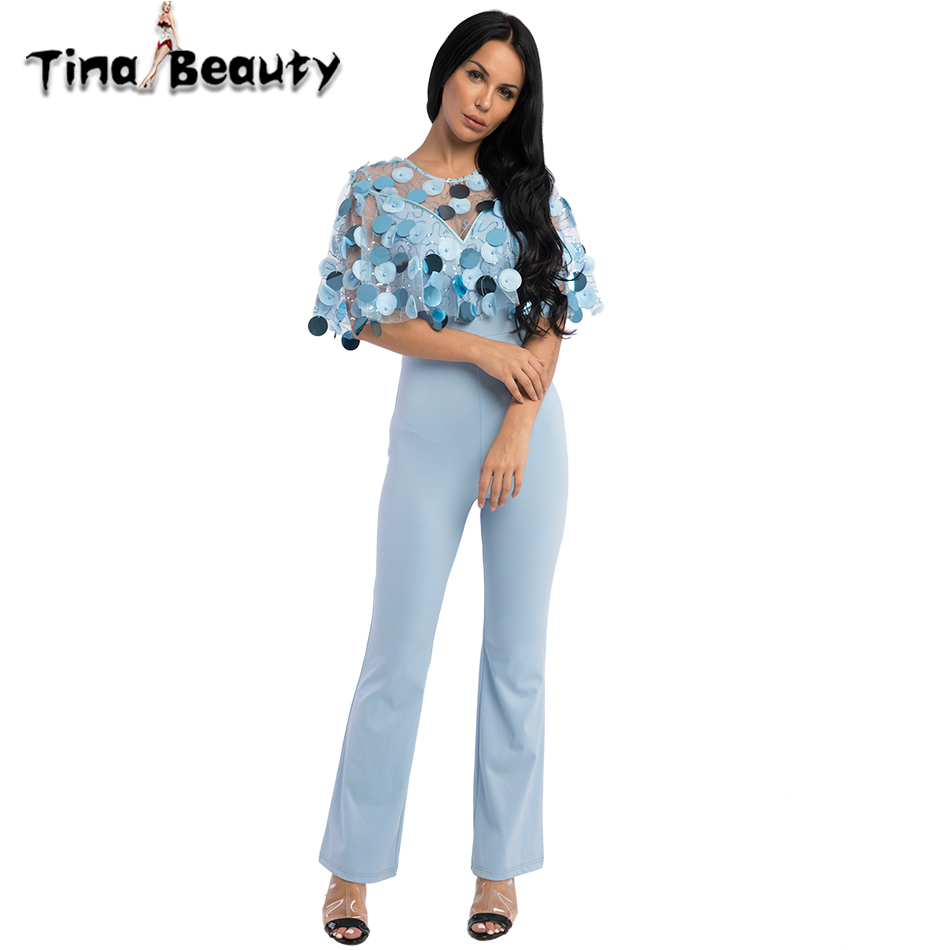 94bc38a200e7 TinaBeauty Prom Party Rompers Womens Jumpsuit 2018 Ladies Sequin Flare  Jumpsuit Mono Mujer .