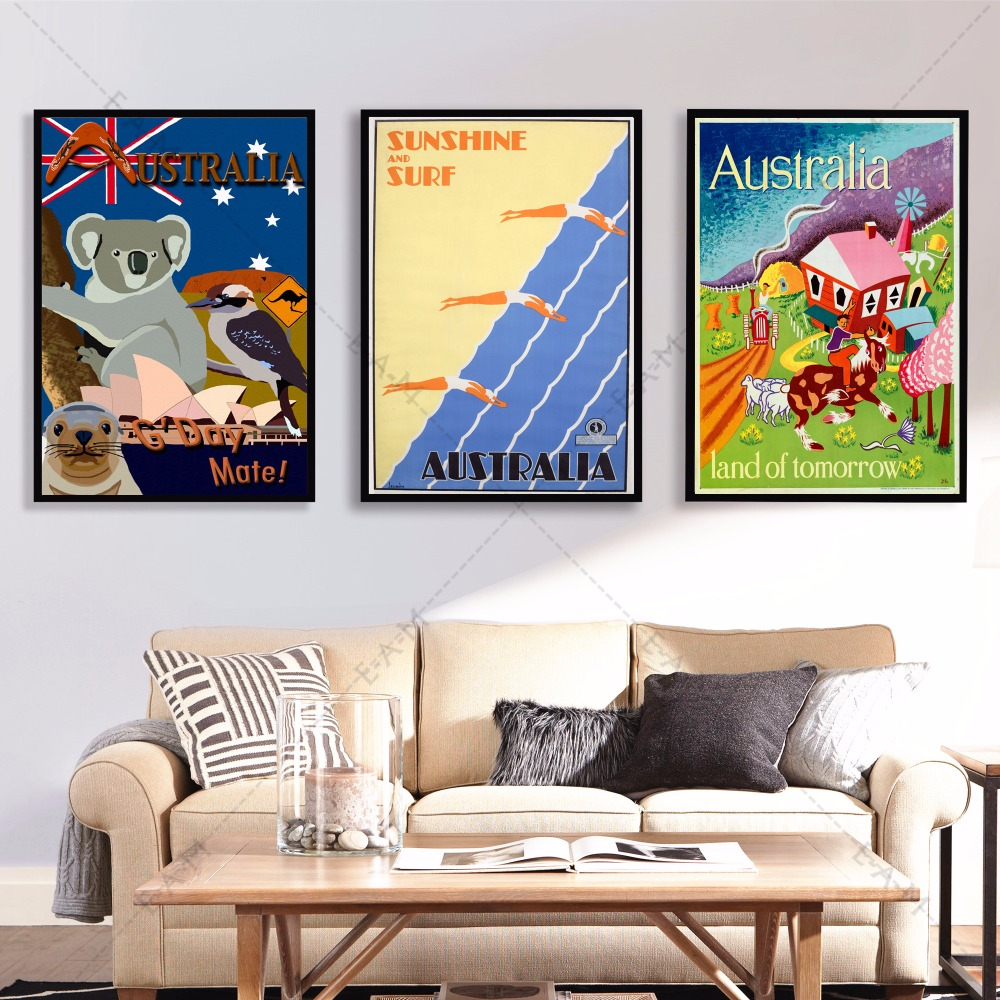 Australia travel vintage posters and prints canvas art painting wall pictures for living room - Wall paintings for living room ...