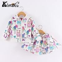 Kimocat Spring And Autumn Next Cartoons Graffiti Long Sleeve Brand Girls Clothing Sport Suits Toddler Jacket