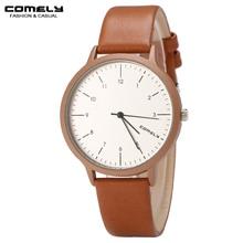 Comely mujeres simple marca de moda casual de negocios reloj de cuarzo de alta calidad relojes correa de reloj de cuero regalos de tiempo preciso