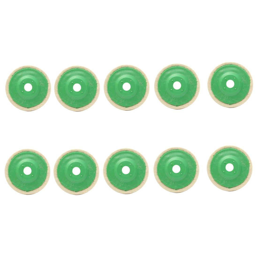 SHGO HOT-10pcs 100mm 4 Inch Round Wool Buffing Pad Polishing Wheel Felt Buffer Disc Set